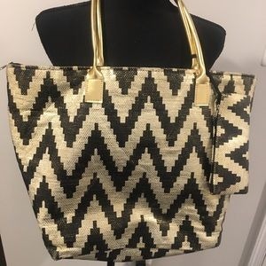 Large Black and Gold Striped Canvas Tote